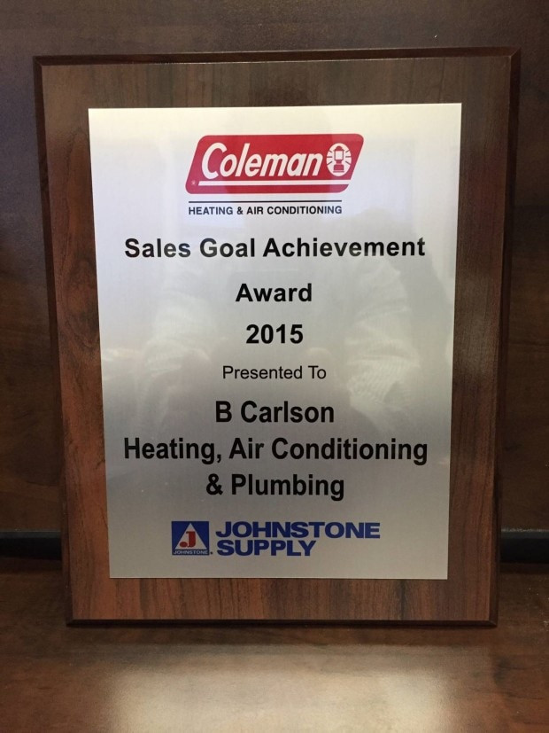 coleman dealer sales goal achievement awward 2015